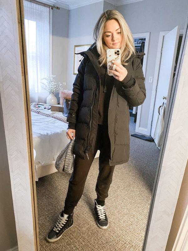 Canada Goose, Black Jogger Sweatpants Set, Hightop Glitter Sneakers White Laces
