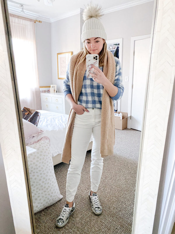 Oversized Checkered Sweater, White Jeans in the Winter, Golden Goose Glitter Sneakers Outfit, Camel Cashmere Wrap Scarf, Fur Pom Pom Beanie