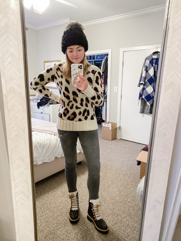 Fur Beanie, Lovers + Friends Leopard Sweater, Grey Skinny Jeans, Marc Fisher Izzy Shearling Leather Hiking Snow Booties