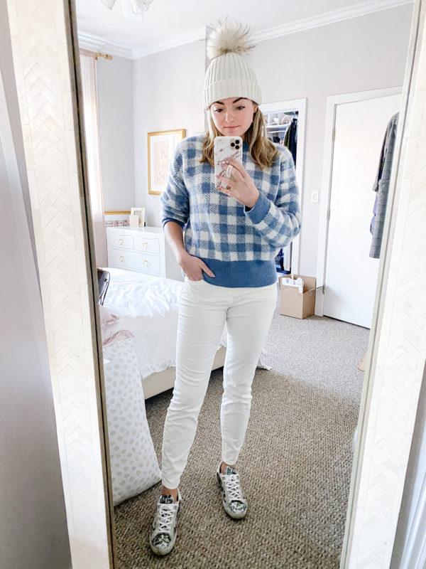 How to Wear White Bottoms in the Winter: Oversized Gingham Sweater from Sezane, Vineyard Vines Velvet Denim, Golden Goose Sneakers, Yves Salomon Beanie
