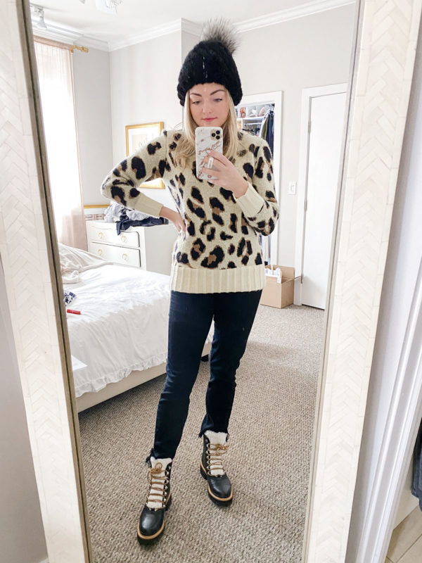 Kyi Kyi Fur Beanie, Revolve Leopard Sweater, Paige Hoxton SkinnyJeans, Marc Fisher Shearling Booties