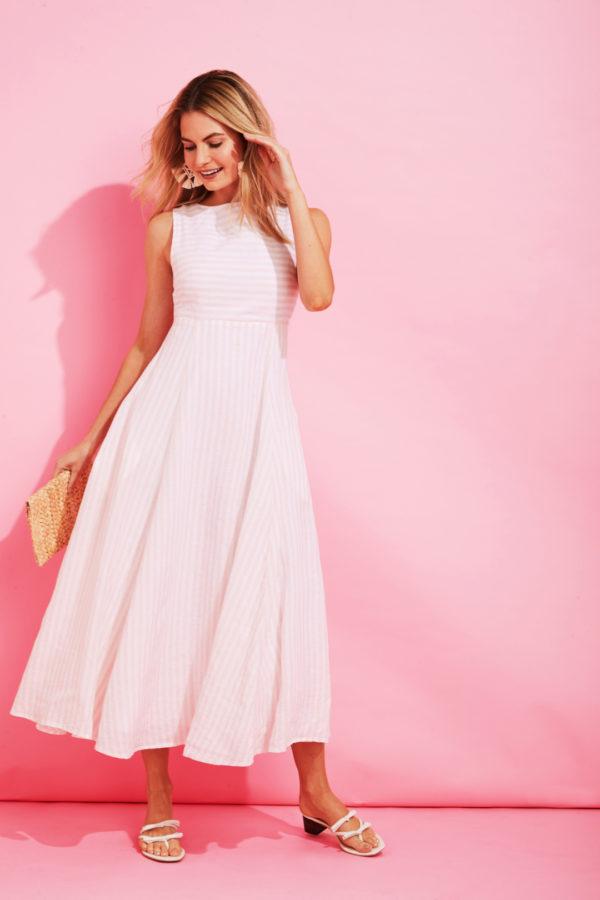 Vineyard Vines x Palm Beach Lately Pink and White Striped Dress