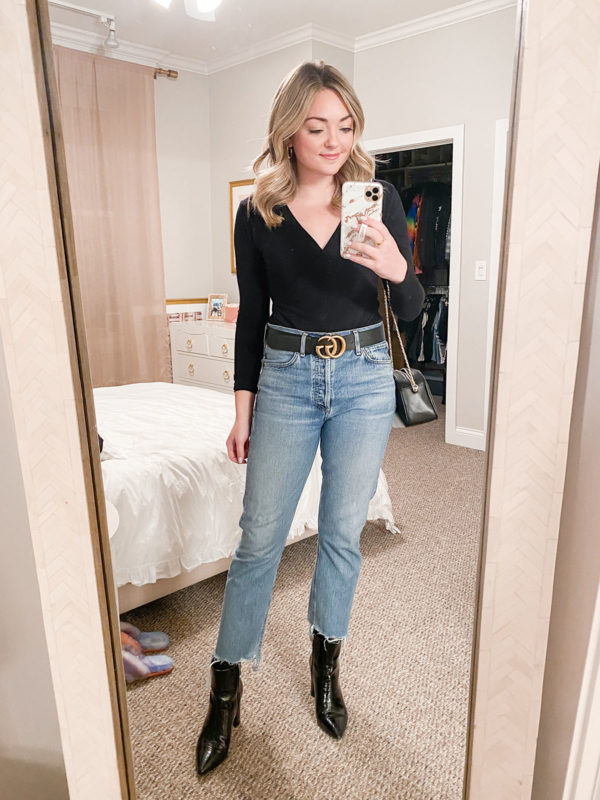 A cute and casual outfit for a first date... V-neck bodysuit, Gucci belt, Citizens of Humanity Charlotte Crop Jeans, Marc Fisher Patent Croc Booties, Sezane handbag.