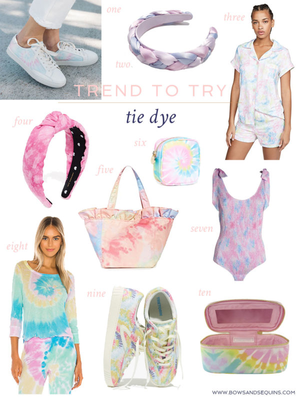 Cute tie-dye clothing and accessories at a variety of price points! Tie Dye Pajama Sets, Tie Dye Soludos Sneakers, Tie Dye Lele Sadoughi Knotted Headband, a Tie Dye tote from Loeffler Randall, a tie dye bathing suit by LoveShackFancy, and tie dye cases from Stoney Clover, too.