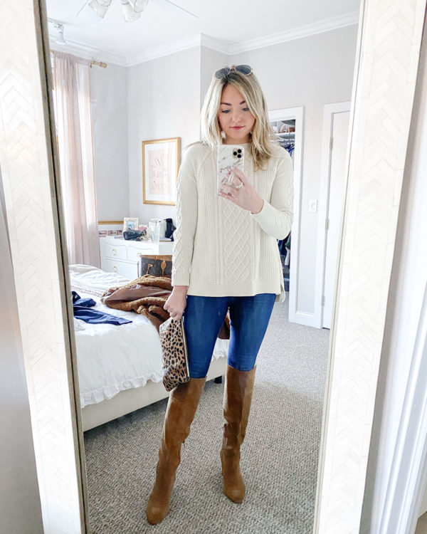 Vineyard Vines Fisherman Sweater, Clare V Leopard Clutch, Suede Cognac Knee High Boots