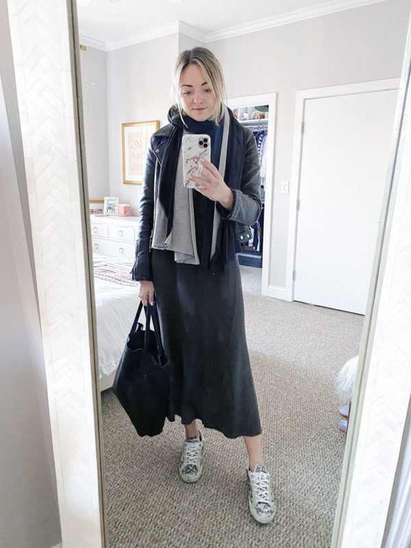 Long Sweater Dress, Black & Grey Wrap Scarf, Black Moto Jacket, Golden Goose Sneakers