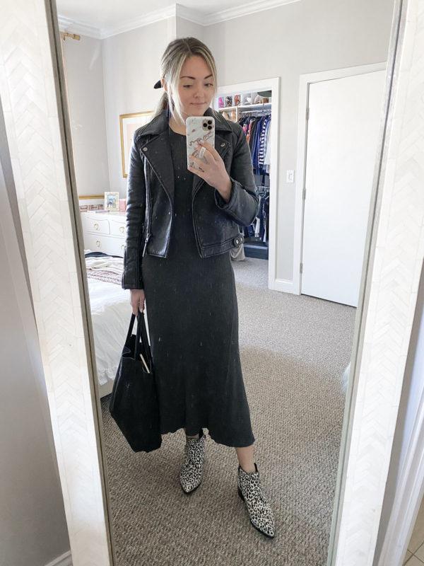 Black Moto Jacket, Sweater Dress, White Leopard Booties Elizabeth Sulcer
