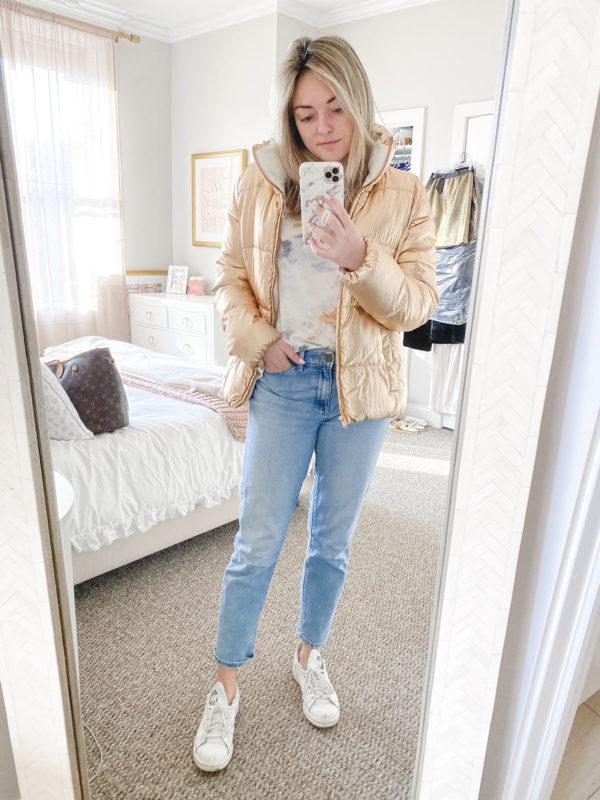 Rose Gold Puffer Coat, Bobeau Tie-Dye Tee, Mott & Bow Mom Jeans, Adidas Stan Smith Sneakers