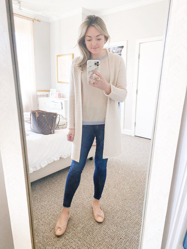 Sail to Sable Cashmere Cardigan, Crewneck Cashmere sweater with baby blue trim, rag & bone skinny jeans with raw hem, and Margaux ballet flats.