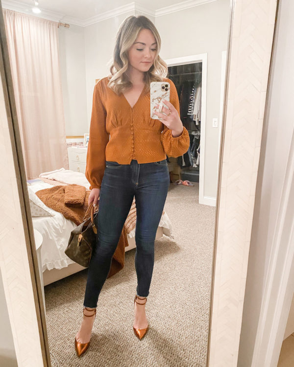 Silky Pumpkin Blouse, Skinny Jeans, Patent Ankle Strap Pumps
