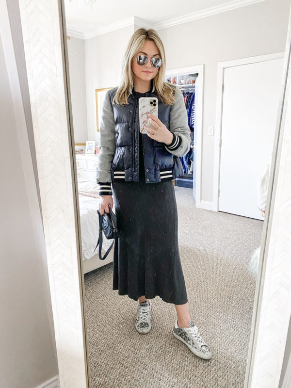 Fashion blogger outfit with Veronica Beard wool puffer jacket, Mango ribbed sweater dress, mirrored aviator sunglasses, and Golden Goose leopard glitter sneakers.