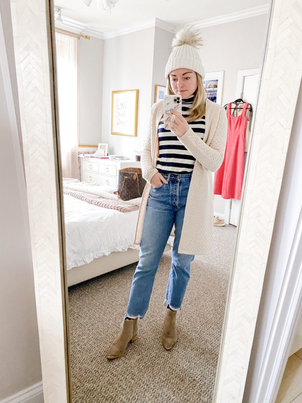 Chicago fashion blogger wearing J.Crew striped turtleneck sweater, Sail to Sable cashmere cardigan, Citizens of Humanity jeans, Marc Fisher booties, and a Yves Salomon beanie.