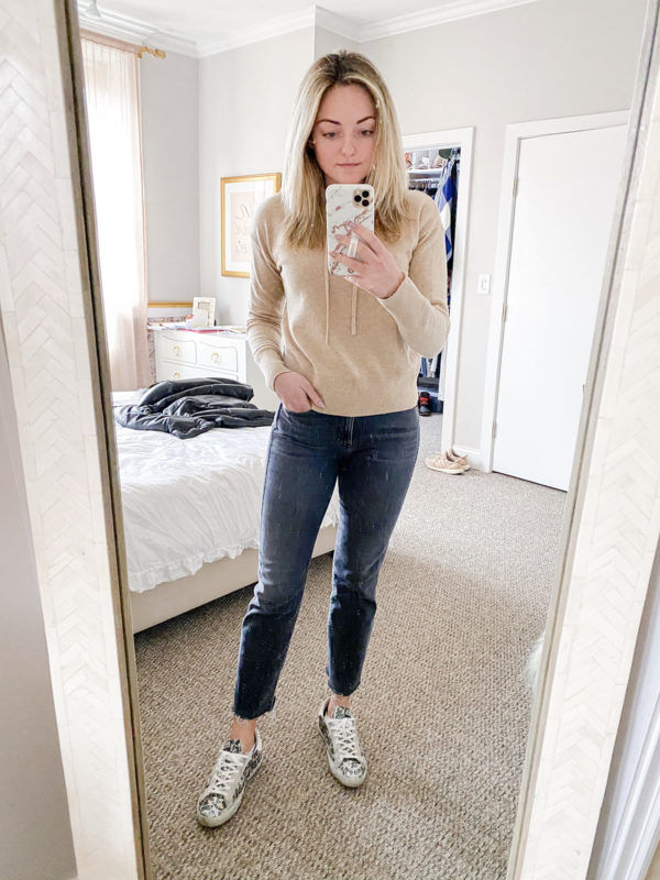 Chicago blogger wearing a Vineyard Vines hoodie, 3x1 jeans, and Golden Goose leopard glitter sneakers.