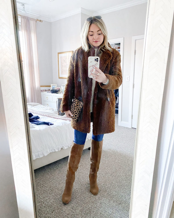 Brown Teddy Coat, Cognac Suede Boots, Leopard Clutch