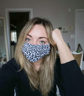 Jessica Sturdy wearing a leopard face mask.