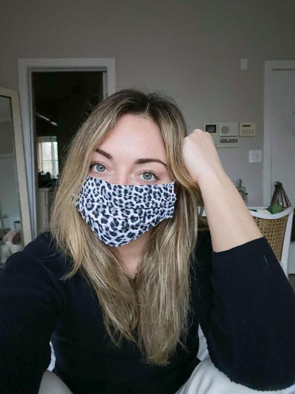 Jessica Sturdy wearing a leopard face mask.