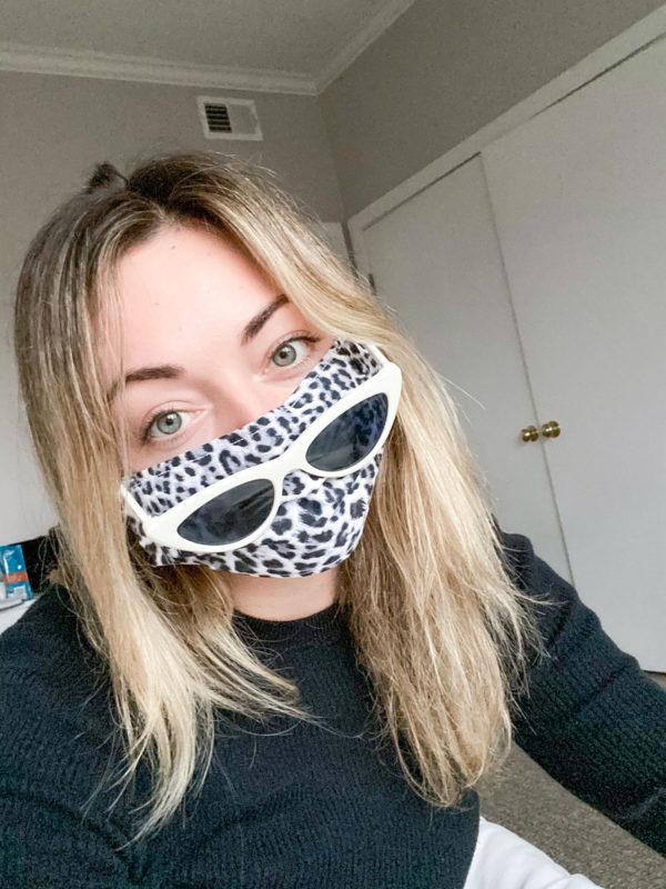 White Cat Eye Sunglasses, Leopard Face Mask