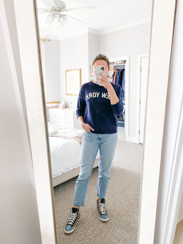 J.Crew New York Sweatshirt, Mott & Bow Jeans, Glitter High Top Sneakers