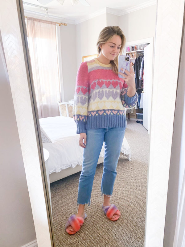 Love Shack Fancy Hearts Sweater, Citizens of Humanity Charlotte Crop Jeans, Emu Multicolor Fuzzy Slippers