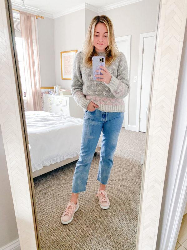 LoveShackFancy Rosie Sweater, Levi's Tie Dye Jeans, Pink Suede Sneakers