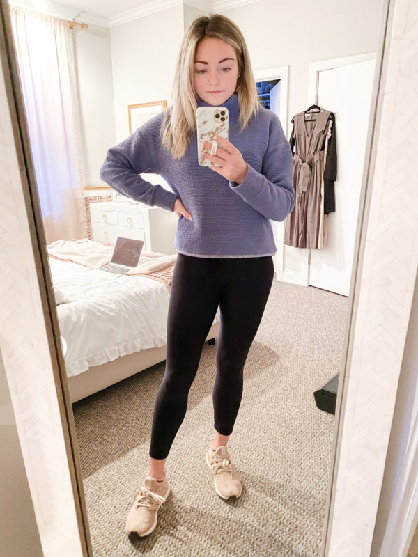 Calia Textured Pullover Turtleneck, Plush Fleece-Lined Leggings, Adidas Ultraboost Sneakers