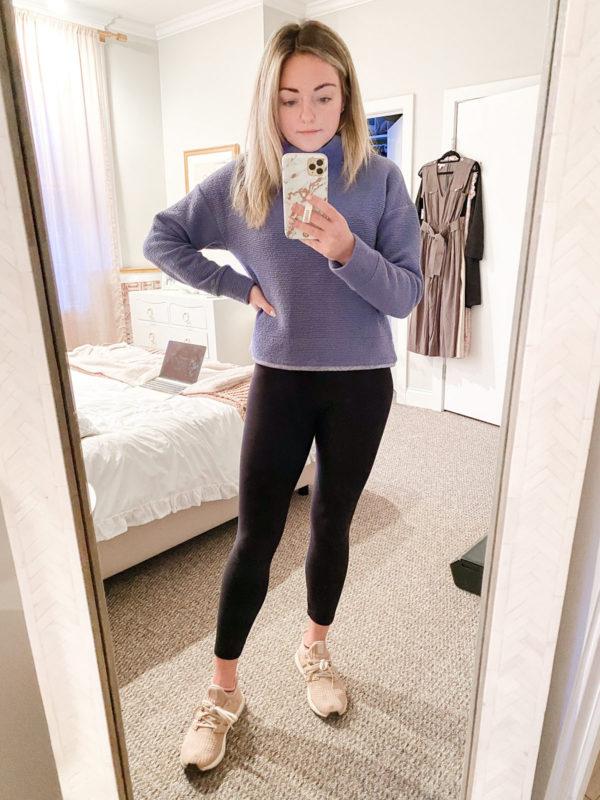 Calia Textured Pullover Turtleneck, Plush Fleece-Lined Leggings, Adidas Ultraboost Sneakers