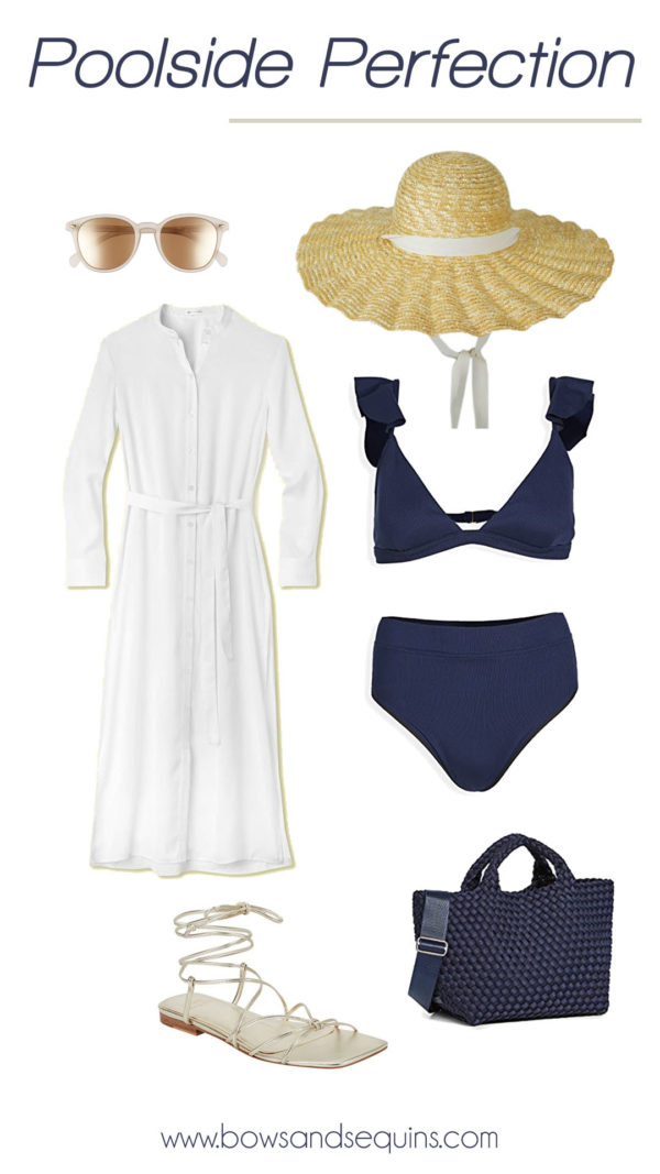 whtie caftan, scalloped straw hat, high waist bikini, metallic wrap sandals