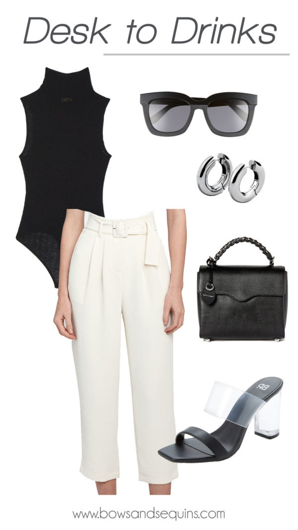white paper bag trousers, black turtlneck bodysuit, silver hoop earrings, office inspo