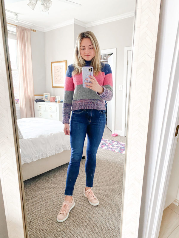 colorful sweater, pink sweater