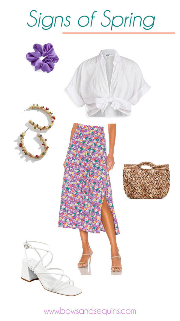 floral print midi skirt, cropped white shirt, straw handbag, purple scrunchie