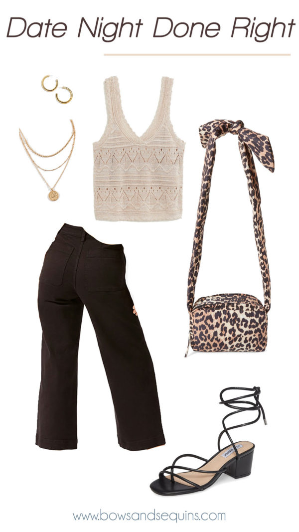 ganni leopard print bag, wide leg black jeans, sweater knit tank, gold jewlery, black lace up block heel sandals