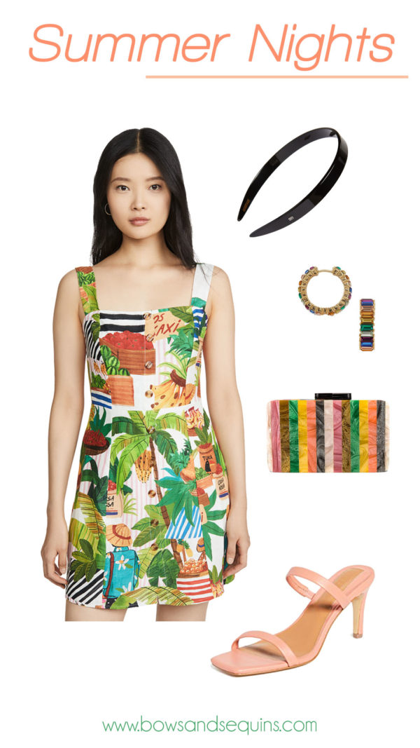 farm rio dress, colorful accessories, miami outfit ideas