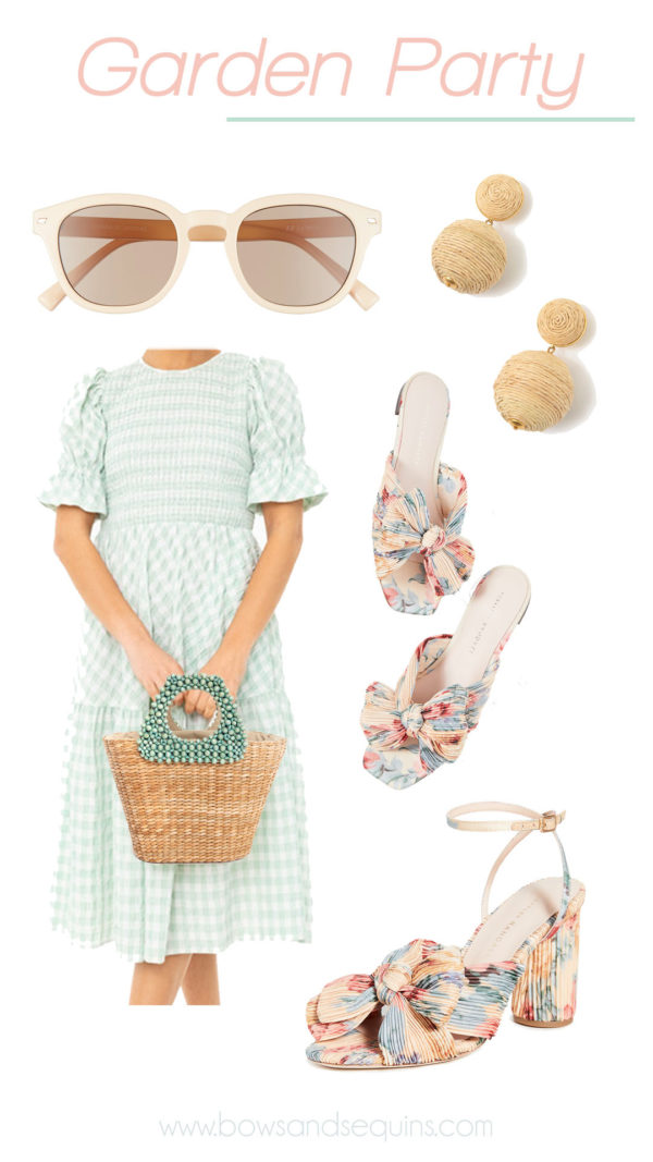 green gingham dress, loeffler randall floral printed sandals, raffia earrings