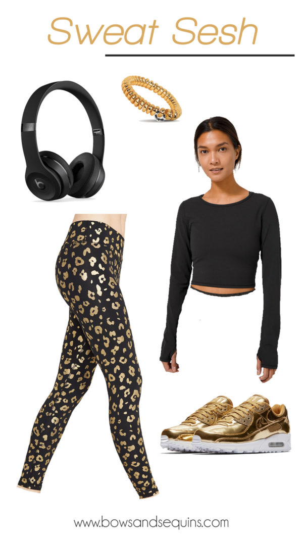 terez gold foil leopard print leggings, metallic gold nike women, lululemon cropped top