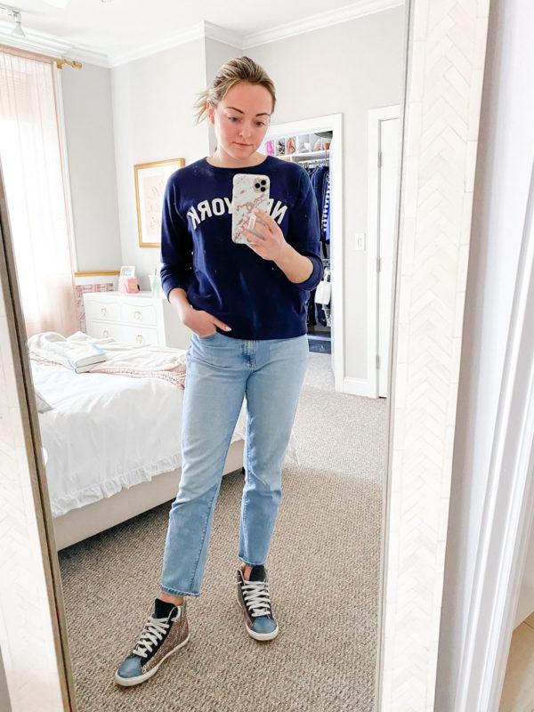 jcrew new york sweatshirt, glitter high tops sneakers
