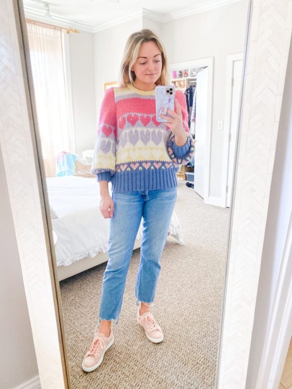 loveshackfancy sweater with hearts, pink sneakers