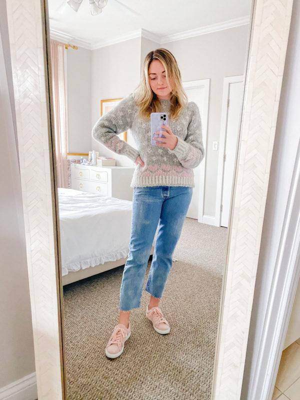 love shack fancy sweater, pink sneakers