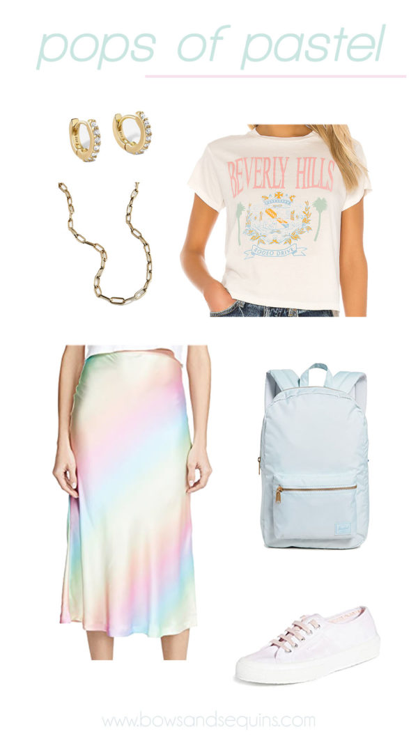 pastel rainbow ombre silk midi skit, beverly kills pastel graphic tee, superga tie dye, herschel back pack