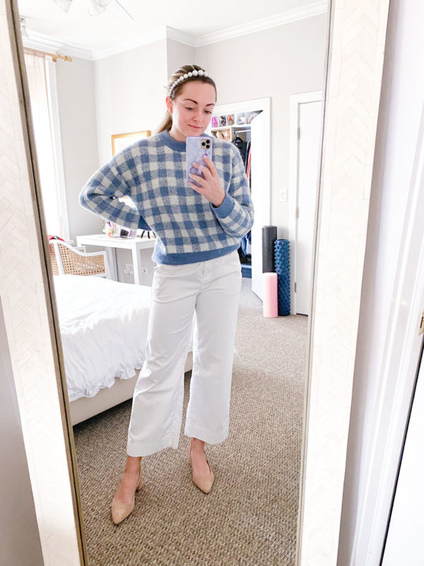 Pearl Headband, Gingham Check Sweater, White Wide Lega Pants, Slingback Pumps