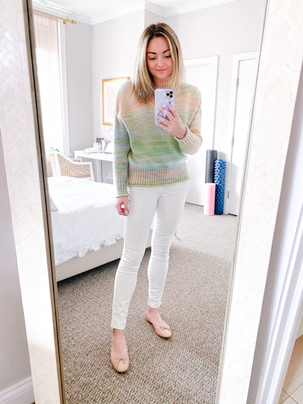 525 America Space Dye Sweater, White Jeans, Margaux Ballet Flats