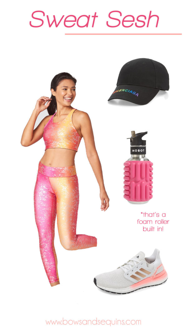 terez workout leggings, balenciaga rainbow hat, adidas ultraboost