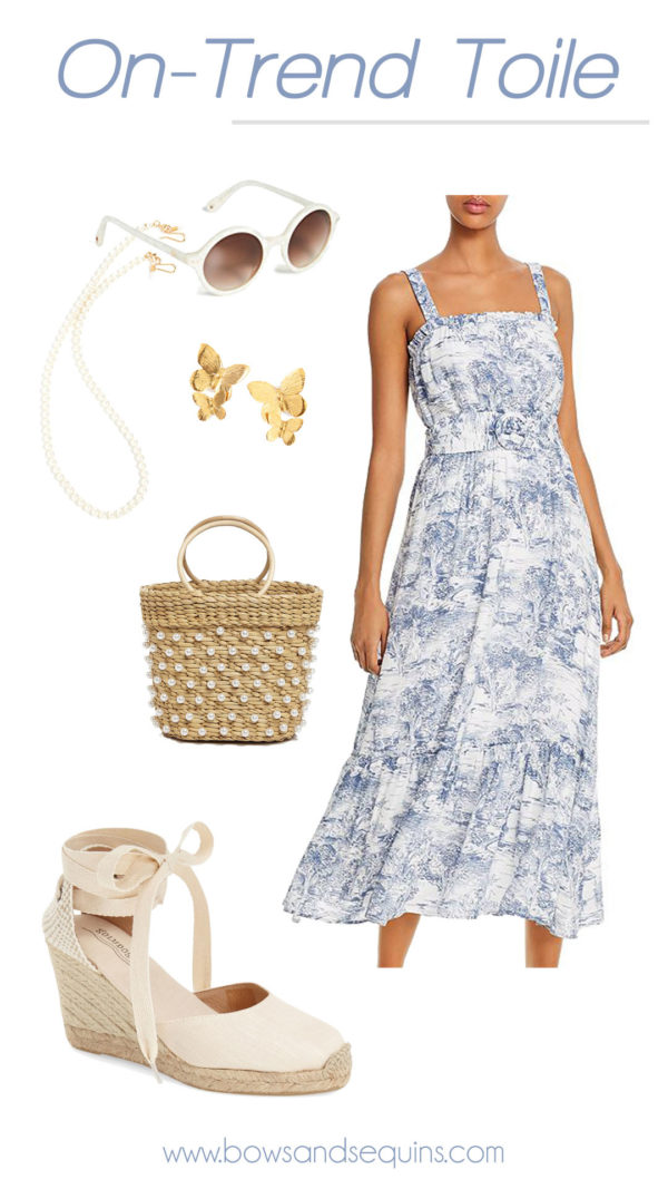 toile print dress, pearl embellished bag, pearl sunglasses chain, espadrilles