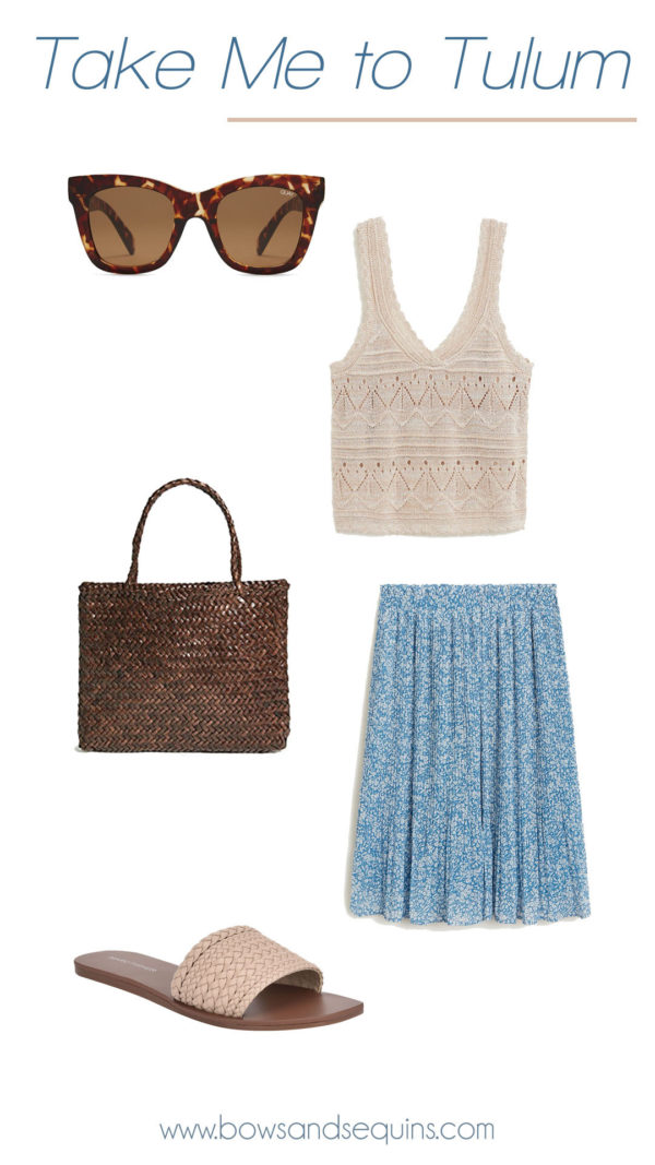 sweater knit top, pleated skirt, brown woven bag