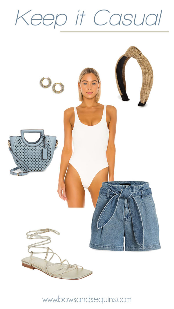 white bodysuit, high waist jean shorts, raffia headband, metallic wrap sandals