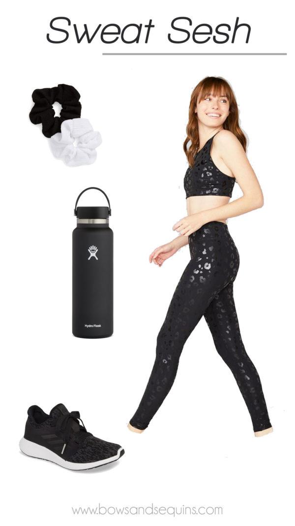 terez black leopard leggings matching workout set