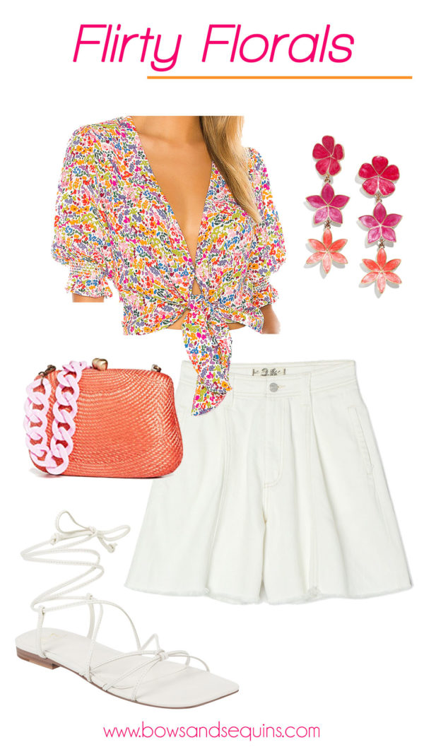 show me your mumu floral top, white shorts, bauble bar earrings, orange bag