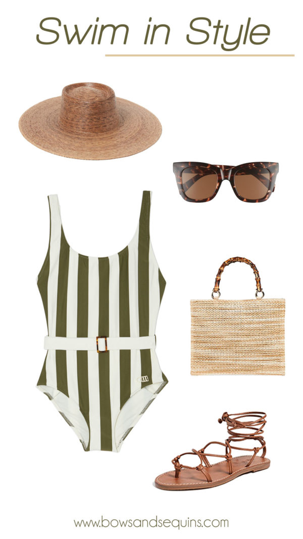 chic striped swimsuit with brown straw accessories