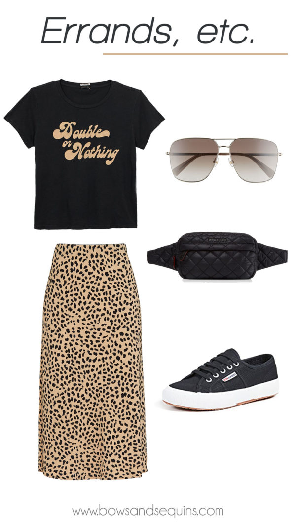casual outfit with graphic tee, leopard skirt, belt bag, and sneakers