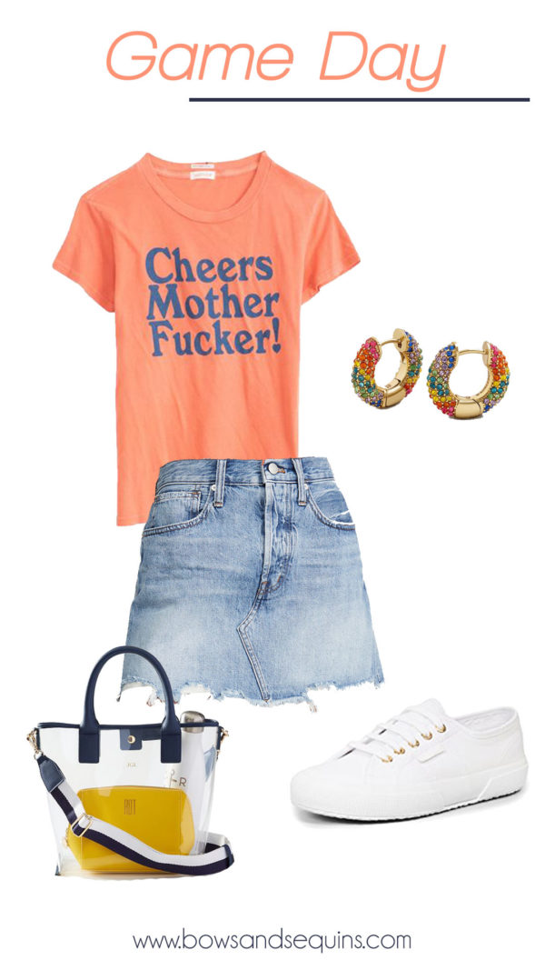 game day outfit, graphic tee cheers, denim skirt, clear bag, sneakers