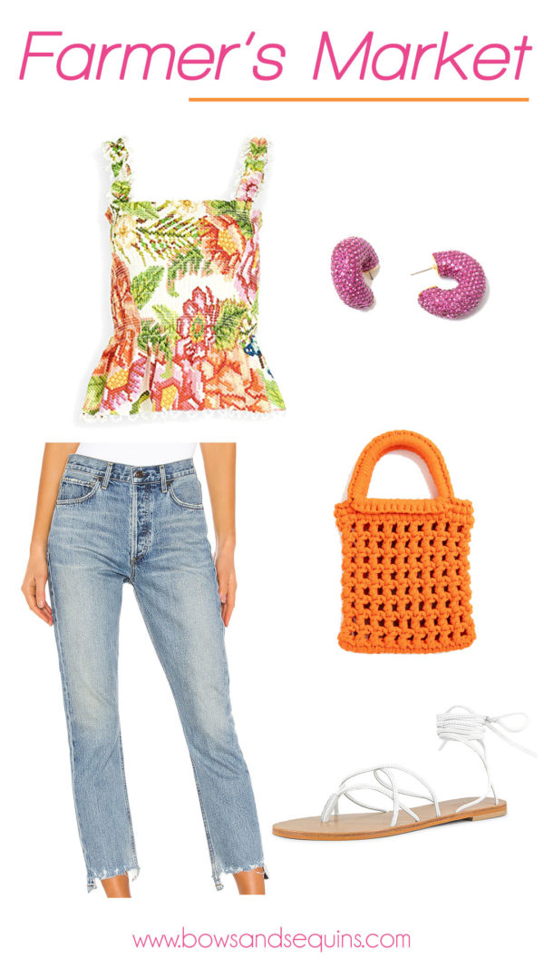 farm rio embroidered floral top, citizens of humanity charlotte crop jeans, tuckernuck